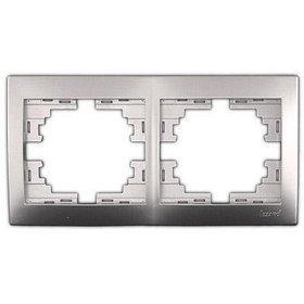 Рамка 2-ая горизонтальная б/вст. металл серый Мира 701-1000-147