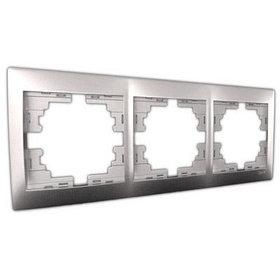 Рамка 3-ая горизонтальная б/вст. металл серый Мира 701-1000-148