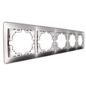 Рамка 5-ая горизонтальная со вст. металл серый Мира 701-1000-150