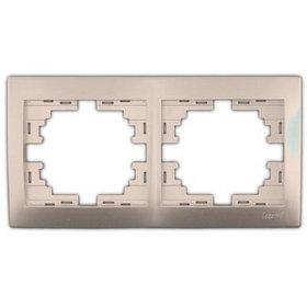 Рамка 2-ая горизонтальная со вст. светло-коричневый перламутр Мира 701-3100-147