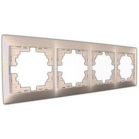 Рамка 4-ая горизонтальная со вст. светло-коричневый перламутр Мира 701-3100-149