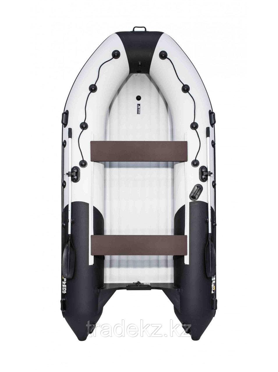 Лодка ПВХ Ривьера 3800 Килевое НД комби светло-серый/черный