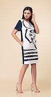 Платье Дали-2494, белый+темно-синий, 48