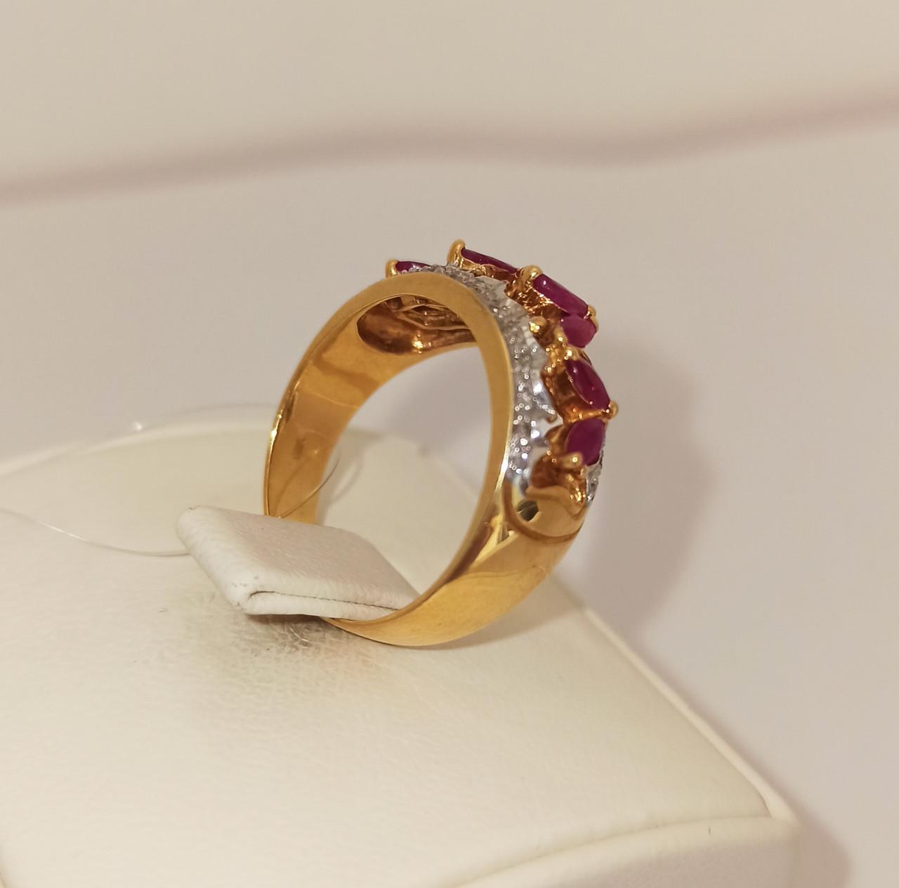 Золотой комплект с бриллиантами и рубинами - фото 4