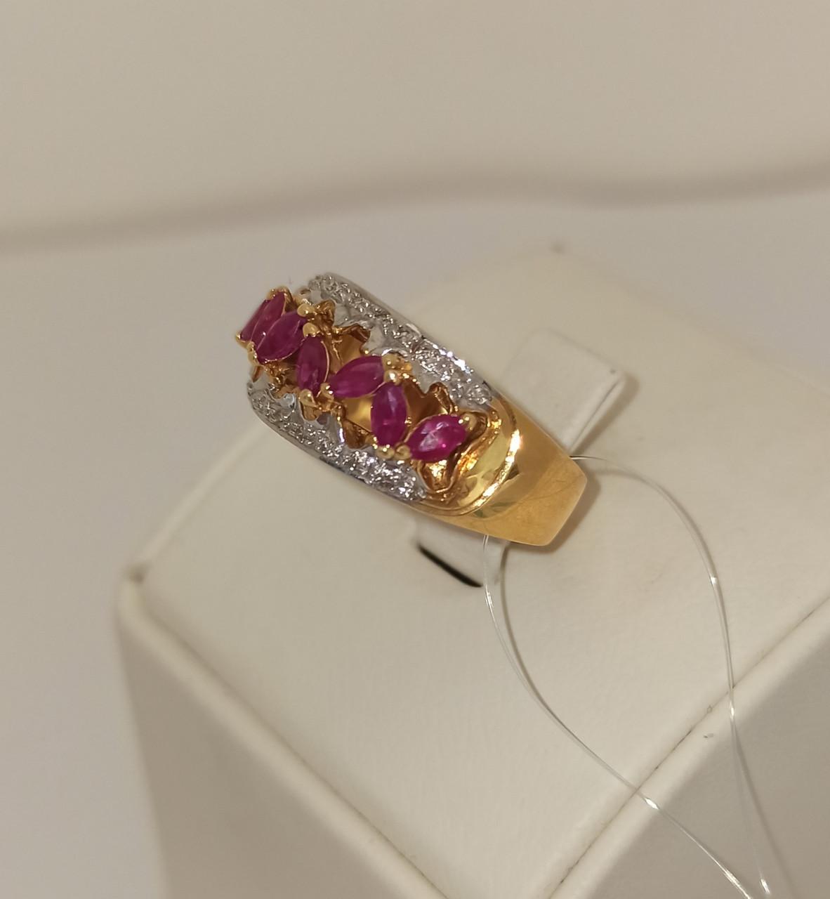 Золотой комплект с бриллиантами и рубинами - фото 2