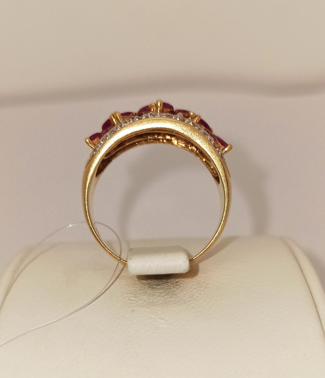 Золотой комплект с бриллиантами и рубинами - фото 3