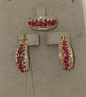 Золотой комплект с бриллиантами и рубинами