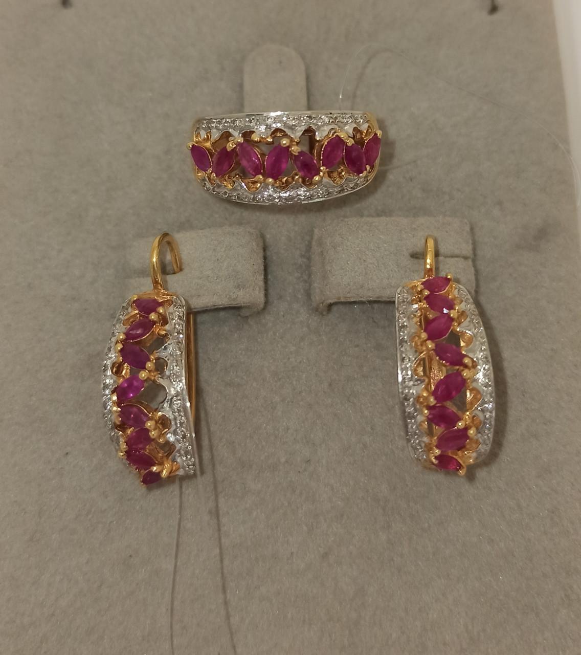 Золотой комплект с бриллиантами и рубинами - фото 1