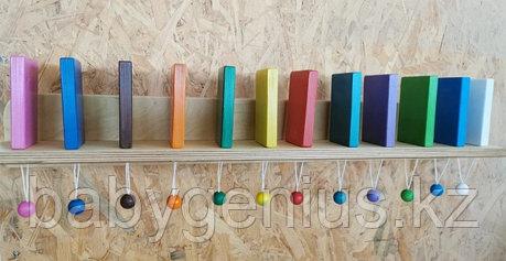 Настенный модуль Разноцветное Домино, Тактильно-развивающая панель (12 домино), фото 2