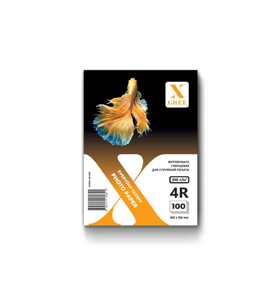 E7210-4R-100 Фотобумага для струйной печати X-GREE Глянцевая EVERYDAY 4R*102x152мм/100л/210г NEW (40)