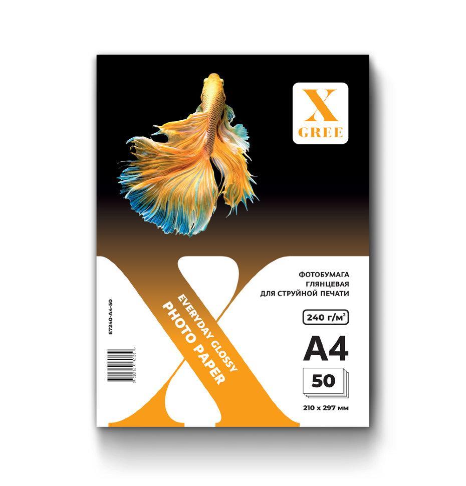 E7240-A4-50 Фотобумага для струйной печати X-GREE Глянцевая EVERYDAY A4*210x297мм/50л/240г NEW (20)