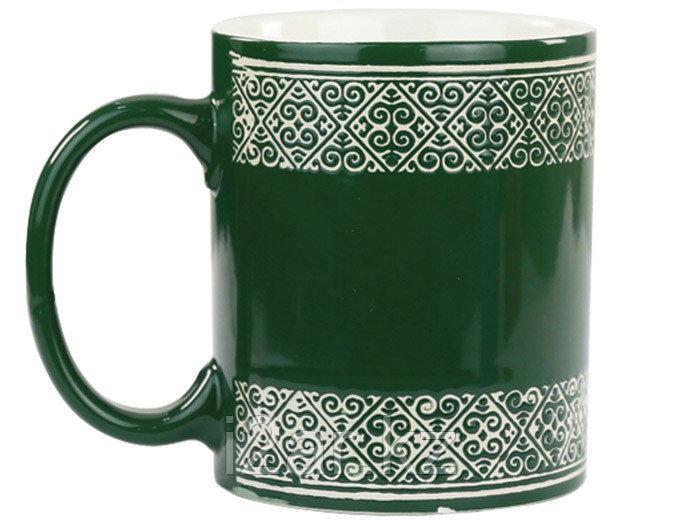 Кружка с орнаментом зеленая