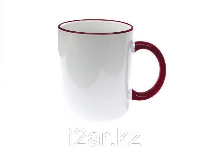 Кружка керамическая белая с бордовым