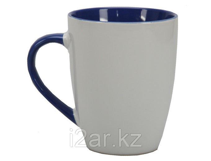 Кружка керамическая белая с темно-синим