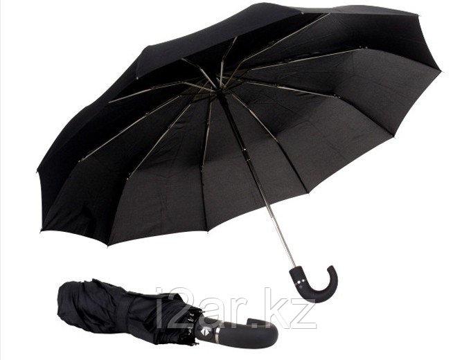 """Зонт складной с пластиковым держателем (23""""*10) черный"""
