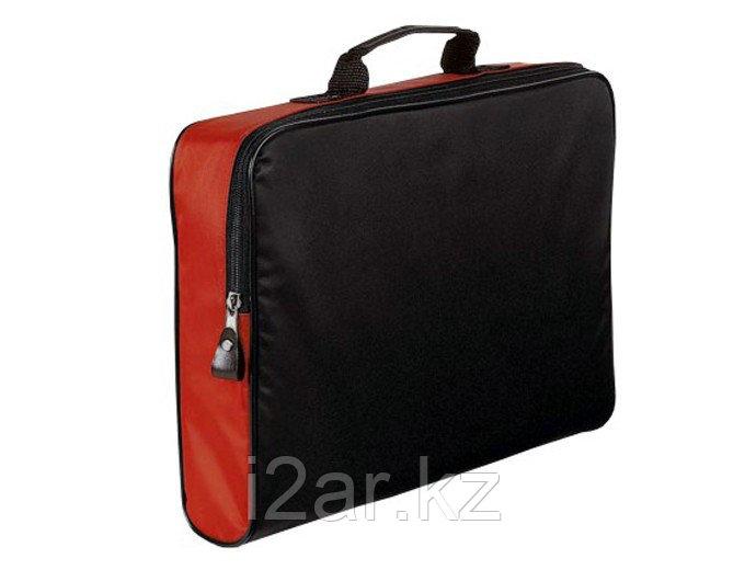 Конференц-сумка на молнии черно-красная