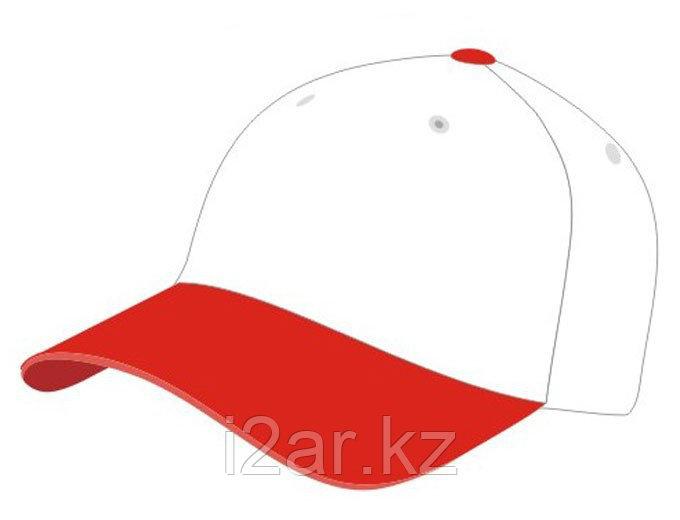 Бейсболки 5 панельные, 100% хлопок, красно-белая