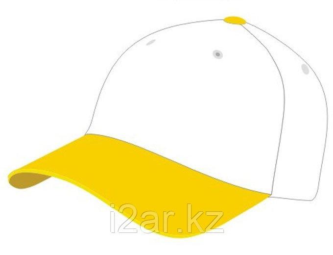 Бейсболки 5 панельные, 100% хлопок, желто-белая