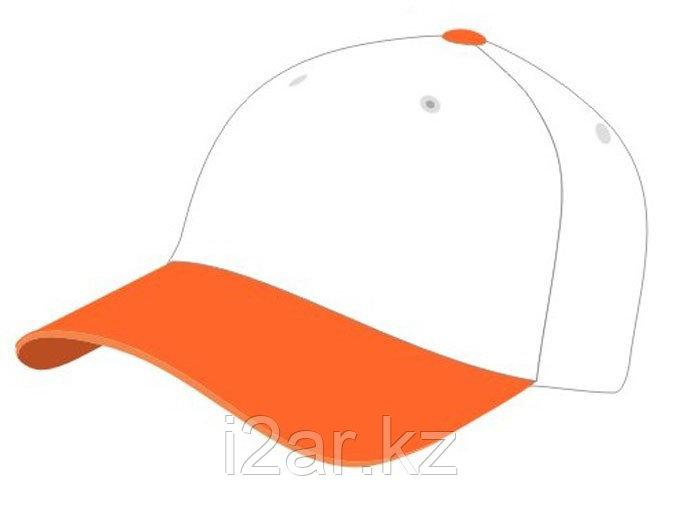 Бейсболки 5 панельные, 100% хлопок, бело-оранжевая
