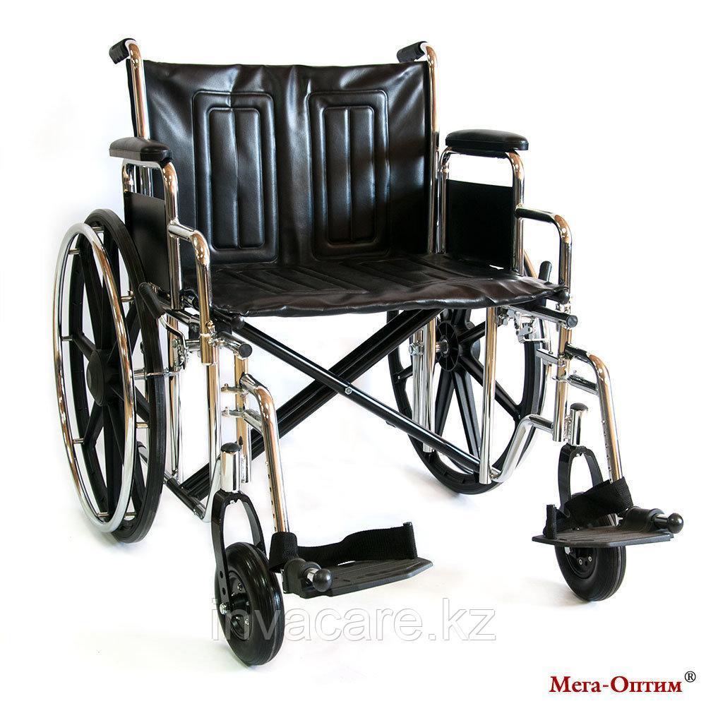 Инвалидная коляска 711AE, кожзам, литые задние колеса
