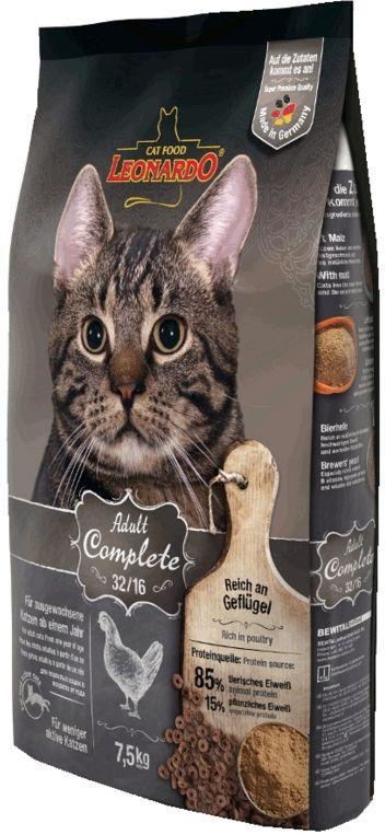 Корм Leonardo Adult Complete 32/16 для взрослых, малоактивных кошек - 2 кг