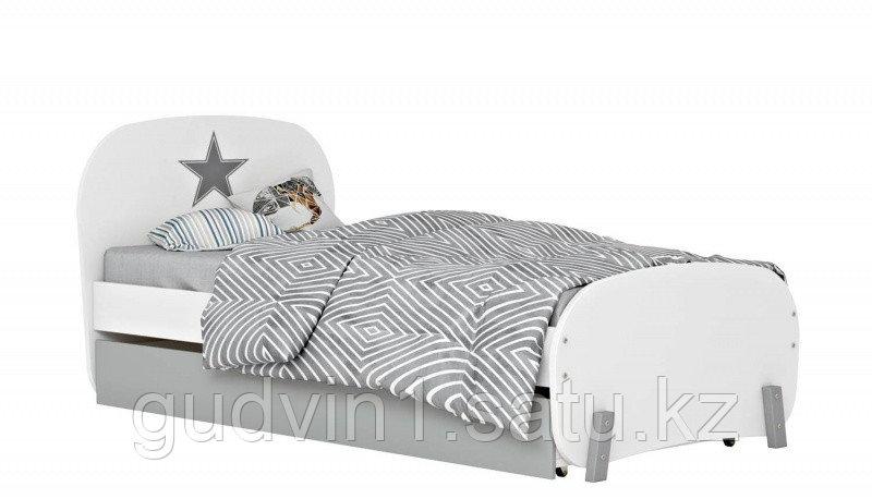 Кровать детская Polini kids Mirum 1915 c ящиком, белый / серый 01-13648