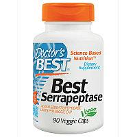 Doctor's Best, Серрапептаза (Best Serrapeptase), 90 капсул.Лечение гайморита и ФКМ.