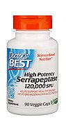 Doctor's Best, Серрапептаза (Best Serrapeptase), 90 капсул. 120 000 Лечение гайморита, ФКМ, спаек.