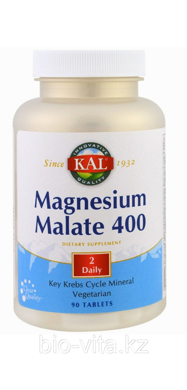 KAL, Малат магния 400 мг ( в 2 таблетках)90 таблеток. Яблочнокислый магний.
