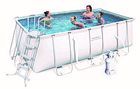 56457 BW, BestWay, Каркасный прямоугольный бассейн 412х201х122 см, 8124 л, песочный фильтр-насос 3028л/ч
