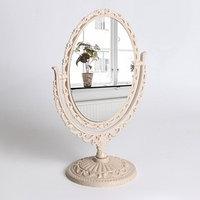 Зеркало настольное 'Ажур', двустороннее, с увеличением, зеркальная поверхность 10,8 x 14,5 см, цвет бежевый