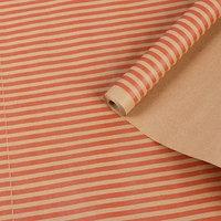 Бумага упаковочная крафт 'Полоски', красный на коричневом, 0,7 х 8,5 м, 70 г/м2