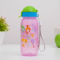 Бутылка для напитков с трубочкой детская 'Фиксики мультяшки Верта и Симка', 400 мл, цвет МИКС