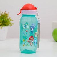 Бутылка для напитков с трубочкой детская 'Фиксики мультяшки Симка и Нолик', 400 мл, цвет МИКС