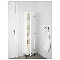 СИЛВЕРОН Высокий шкаф с зеркальной дверцей, белый, 40x25x172 см