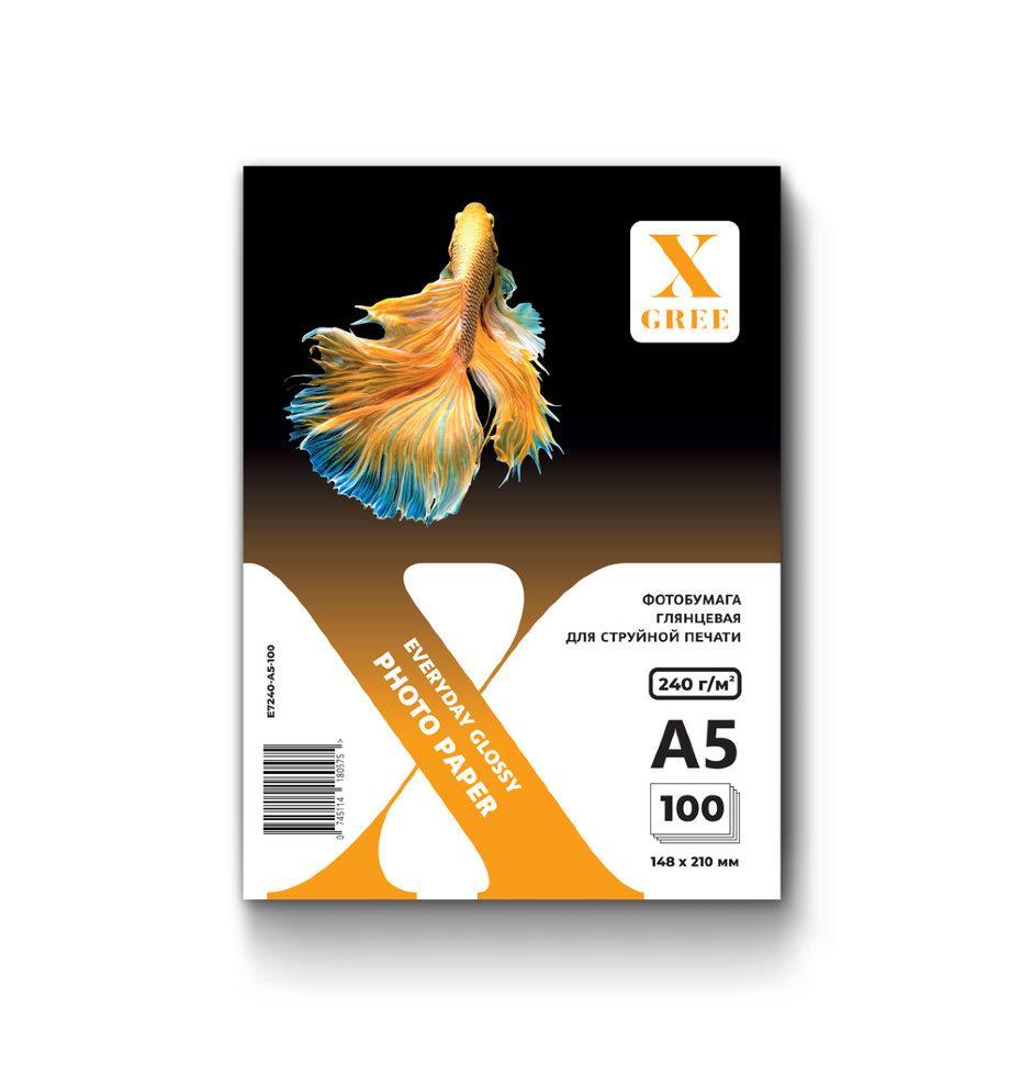 E7240-A5-100 Фотобумага для струйной печати X-GREE Глянцевая EVERYDAY A5*148x210мм/100л/240г NEW (20)