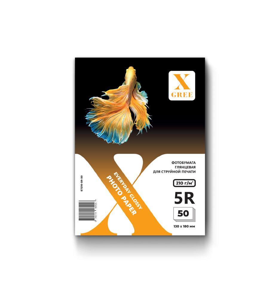 E7210-5R-50 Фотобумага для струйной печати X-GREE Глянцевая EVERYDAY 5R*130x180мм/50л/210г NEW (36)