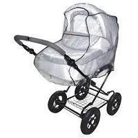 Дождевик для детской коляски универсальный из полиэтилена, на резинке