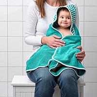 РЁРАНДЕ Полотенце с капюшоном, в полоску, зеленый, 80x80 см, фото 1