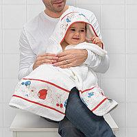 РЁДХАКЕ Полотенце с капюшоном, орнамент «кролики/черника», 60x125 см, фото 1