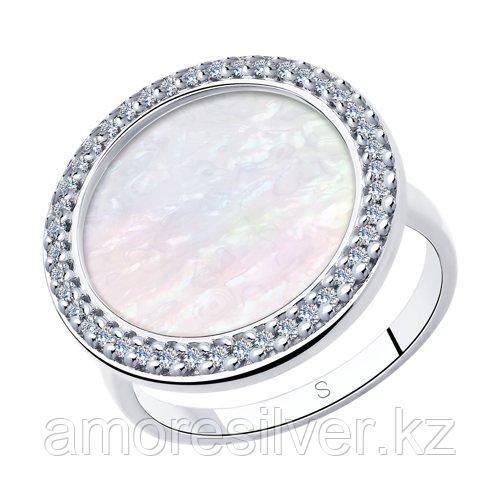 Кольцо из серебра с перламутром и фианитами    SOKOLOV 94013021 размеры - 17 17,5 19
