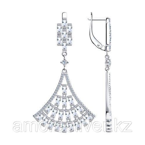 Серьги из серебра с фианитами  SOKOLOV 94023819