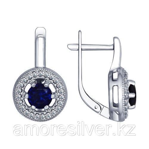 Серьги из серебра с бесцветными и синими фианитами SOKOLOV 94022452
