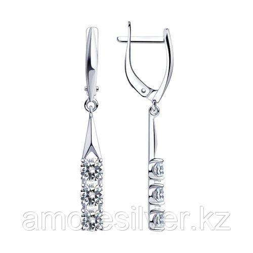 Серьги из серебра с фианитами    SOKOLOV 94023807