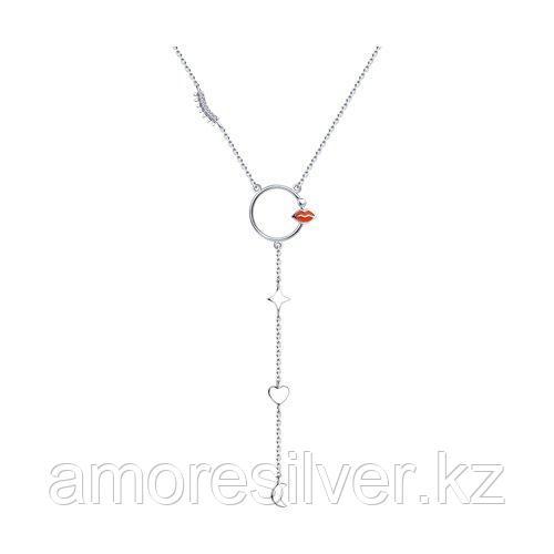 Колье из серебра с эмалью и фианитами  SOKOLOV 94070386