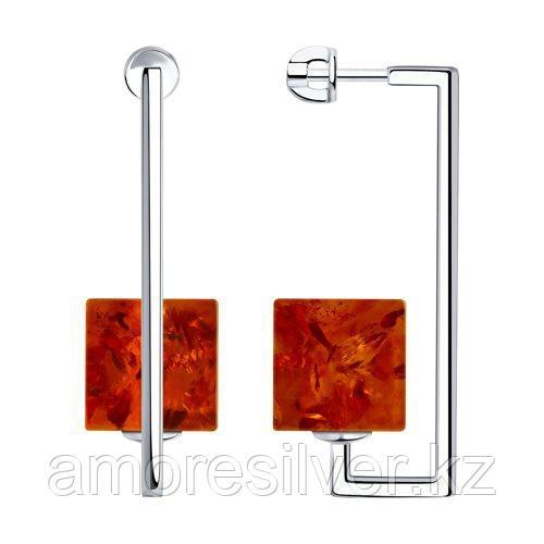 Серьги из серебра с синтетическими янтарями SOKOLOV 83020083