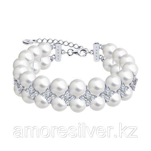 Браслет из серебра с жемчугом и фианитами    SOKOLOV 94050641