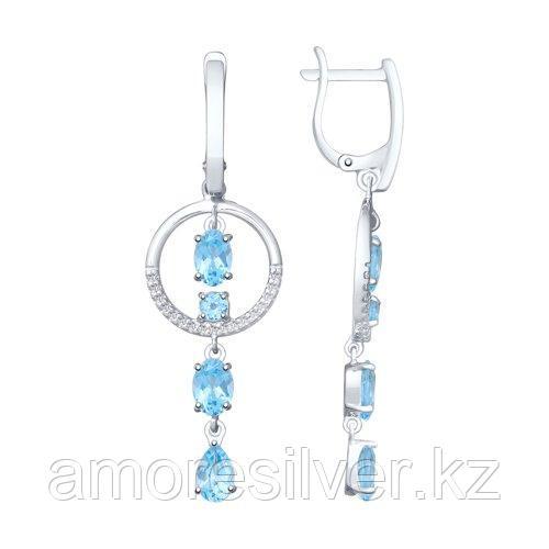 Серьги из серебра с топазами и фианитами    SOKOLOV 92021952
