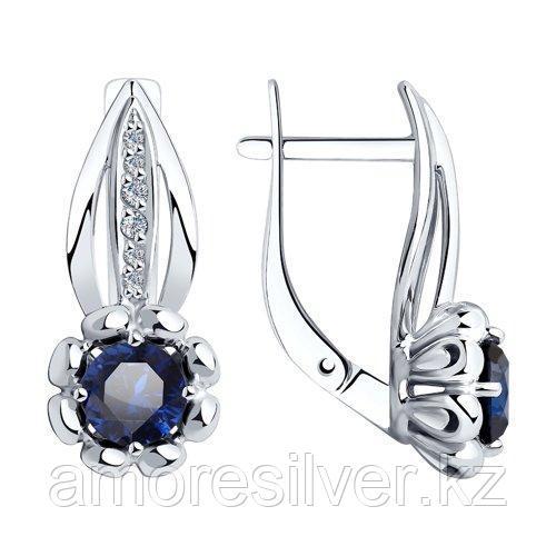 Серьги из серебра с синими корунд (синт.) и фианитами    SOKOLOV 88020068