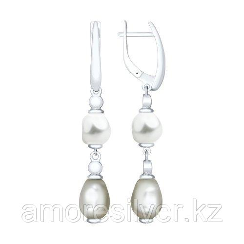 Серьги из серебра с белыми жемчугом Swarovski  SOKOLOV 94023222